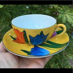 Meito China Yellow Tulip Cup and Saucer Japan